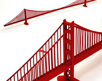 Golden Gate Bridge, assembled architectural paper model || 46 inches long || red color