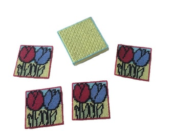 Tulip Coaster Set with Box, Flower Mug Rugs