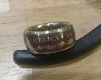 Coin Ring - Custom Finish US Morgan Silver Dollar 1899 - Size 12 1/2