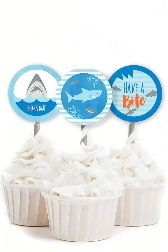 recipe: shark cupcake topper [12]