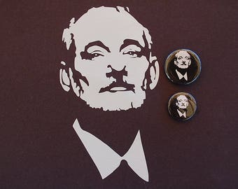 Bill Murray Face Sticker Vinyl Decal And 2 Buttons/Pins! Choose size