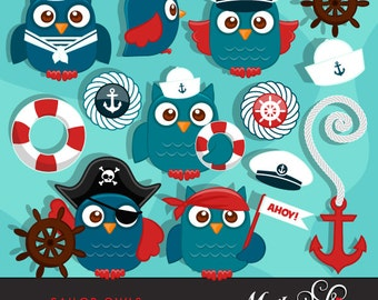 Cute Sailor Owls Clipart. Sailing Owls in Captain outfit, pirate outfit, sailor outfit, cute sailing graphics, ship wheel, anchor and more!