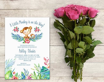 Monkey Baby Shower Invitation, A Little Monkey Is On the Way, Jungle Baby Shower, Gender Neutral, Watercolor, Floral, Printable No. 1061
