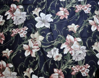 SALE, Vintage Decorator Fabric 1980s Navy Blue Fabric Large Flower Motif, Floral Print Fabric, Peonies, Lilies, Maroon, Gold Lines, Burgundy
