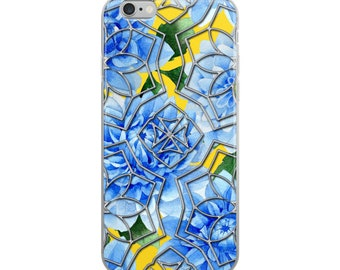 iPhone Case Stained Glass Watercolor Blue Dahlia Flowers Silver Metallic Mandala Color Moi Mandalas® design