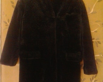 Gorgeous black faux fur Astrakhan coat by Express, Compagnie Internationalie Marque Deposee