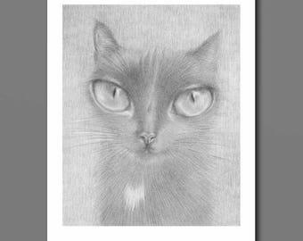 Black Cat Art, cat art print, big eye art, black cat drawing, creepy cute, pop surrealism cat, lowbrow cat art, black cat print, cat print