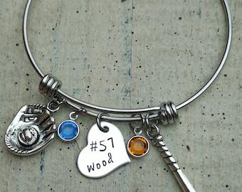 Hand stamped baseball name charm bangle / Name number personalized Bracelet  /  baseball charm bangle bracelet / custom personalized jewelry