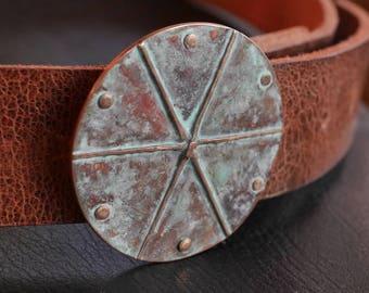 Round Copper belt buckle for 1.5 in belt, green belt, belt buckles for women, mens belt buckle, pie shape