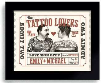 Tattoo Lover Wedding Gift for Couple Personalized Unique Wedding Gift Illustrated Ink Circus Ticket Tattoo Parlor Tattoo Man Woman Carnival