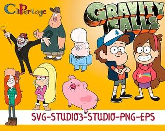 GRAVITY FALLS Svg, Eps Images, SVG silhouettes, Decal Svg files for Silhouette, Cricut, Instant digital download