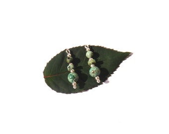 Multicolored African Turquoise: pair of pendants 2.5 mm tall x about 6 mm in diameter