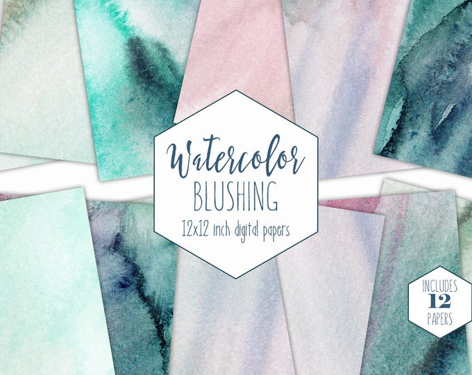 TEAL WATERCOLOR WASH Digital Paper Pack Commercial Use Backgrounds Aqua Scrapbook Papers Blush Pink Hand Painted Ocean Watercolour Textures