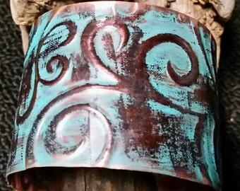 Copper Cuff Bracelet~ Patina Cuff