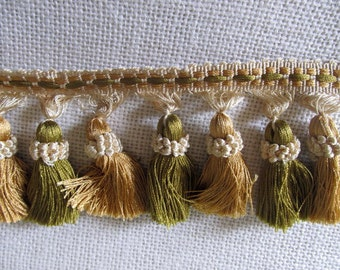 Tassel Fringe ivory  gold and olive greens