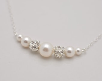Pearl and Rhinestone Necklace, Pearl Bridal Necklace, Wedding Necklace, Floating Pearl Necklace, Pearl and Crystal Bridal Necklace 0307
