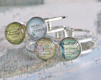 Long Distance Friend Personalized Map Bracelet Cuff