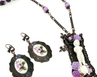 Rusted iron necklace set, flower earrings Charlotte doll, purple beaded necklace, vintage style