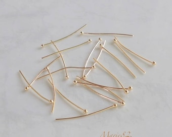 Nails / 30 X 0.70 mm gold plated ball head pins