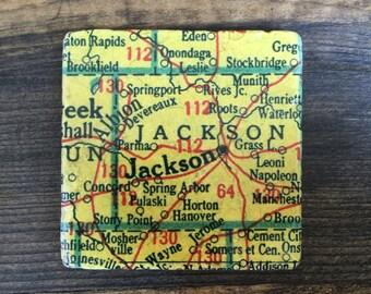 Jackson Michigan Map Coaster with cork backing Albion Concord Spring Arbor Ft Wayne Stony Point Hanover Pulaski Stockbridge