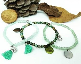 3 bracelets semis gems green trilogy.