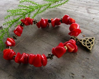 Red coral bracelet, crystal stone healing jewelry, gift for her