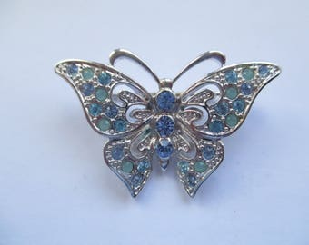 Silver Tone Butterfly Brooch with Sparkly Blue Rhinestones, Butterfly Brooch, Butterfly Pin, Costume Jewellery, Costume Jewelry
