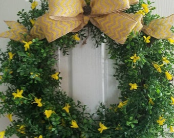 Boxwood Wreath with Yellow fill
