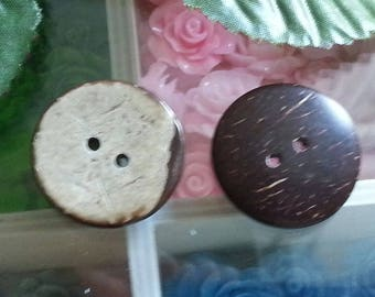 Buttons of coconut, 2 hole, round and flat, CoconutBrown 25x3mm, hole: 2mm