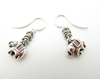 Handmade Sterling Silver Elephant Earrings