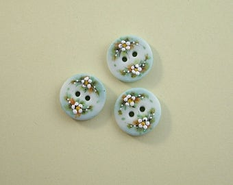 Small Dusty Blue Button set of 3