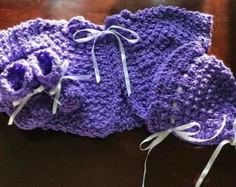 Crochet Layette Set 3pc purple