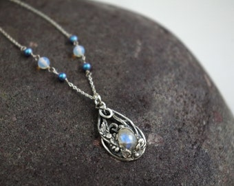 Blue Moonstone Vine Necklace, Fine Silver