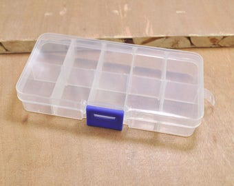 5pcs of Adjustable Plastic Storage Bead Container Box Case,10 Compartments for Beads -- 130x66mm