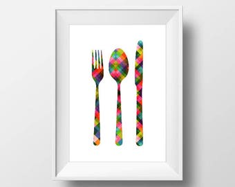 Cutlery Set Print, Kitchen Decor, Printable Wall Art, Cutlery Poster, Fork Spoon Knife Print, Printable Poster, Utensil Art