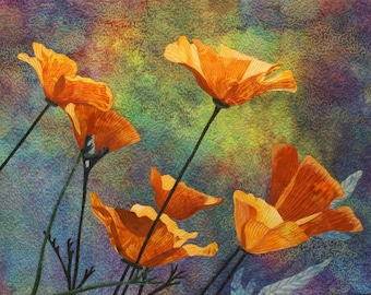 Yellow Poppies Fusing Pattern DOWNLOAD by Lenore Crawford
