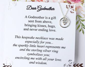 GODMOTHER Necklace Fairy Godmother Gift Will You Be My Godmother 2 Different Poems Swarovski Crystal Heart set in Sterling Silver