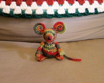 Camouflage (brown, red, green, orange) Handmade Crocheted Stuffed Mouse Child's Toy