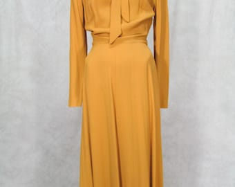 1940s Dress Mustard Crepe Beads Tie Neck Flare Skirt Rockabilly USO