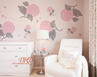 Flower Wall Decals, Flower Decal, Blossom Decals, Flower ball, Monogram, Flower with leaves, Nursery Decals for Girl, Kids-DK065