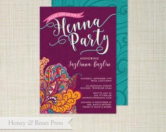 Henna Party Invite . Moroccan Invite  .  Wedding Shower . Boho Wedding Shower . Printable Invite . Digital Invitation
