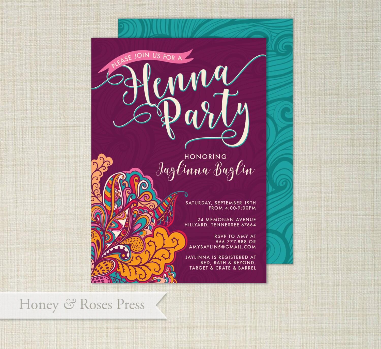 Henna party invite moroccan invite wedding shower boho zoom stopboris Choice Image
