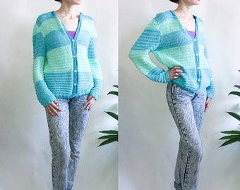 70's Handknit Blue and Mint Green Cardigan with Pearlised Buttons
