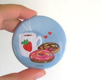 For the love of Donuts! - Blue - Badge - 57mm Large Pin 2.25 inch - Illustration - Pinback Button