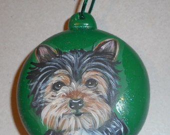 Yorkshire Terrier Yorkie Dog Custom Hand Painted Ceramic Christmas Ornament Decoration