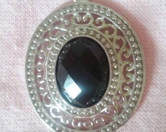 Ornate sterling Filigree Black rose cut Pendant