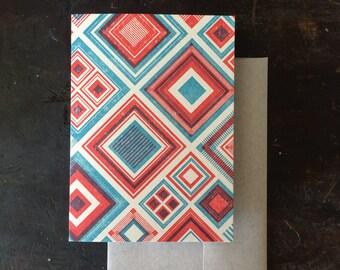 Diamonds Letterpress Notecard - Tomato & Blue