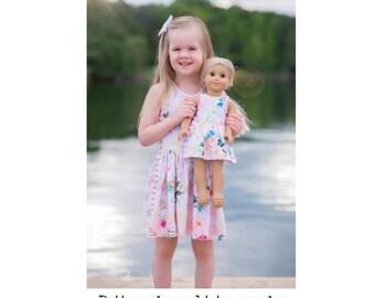 "DOLLY Vivienne Tunic & Dress 14"" 15"" 18"" PDF Sewing Pattern"