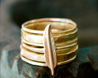 Gold Stacking Rings-Brass Feather-Stacking Rings-Bohemian Jewelry