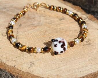 Cat Tiger-Eye Bead Bracelet